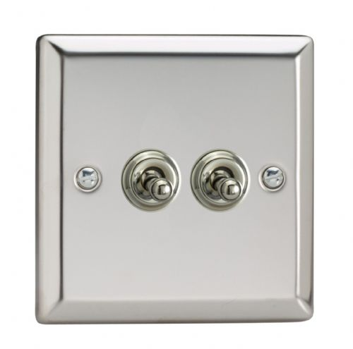 Varilight XCT2 Classic Mirror Chrome 2 Gang 10A 1 or 2 Way Toggle Light Switch